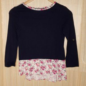 Maison Jules Womens Floral Long Sleeve Top XS